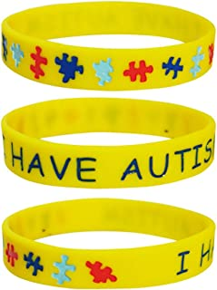 LF 3 Pieces Kids Rubber Autism Medical Alert I Have Autism Medical ID Health Alert Silicone Wristband Bracelet for Children,Pack of 3