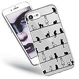 QULT Carcasa para Móvil Compatible con iPhone SE 2020, iPhone 7/8 Funda Transparente con Dibujos Silicona Suave Bumper Teléfono Caso Primavera de Gatos