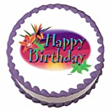 Happy Birthday Tropical ~ Edible Cake / Cupcake Topper