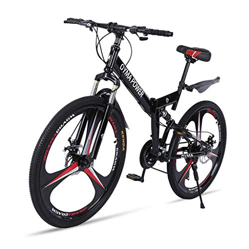 26 Inches Folding Mountain Bike, High Carbon Steel Mountain Bikes 21 Speed Bicycle Full Suspension MTB for Men/Women, Lightweight(Black Red)