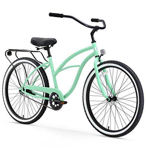 """26threezero Around The Block Bicicleta Beach Cruiser de una velocidad para mujer, ruedas de XNUMX """", verde menta con asiento y puños negros"""