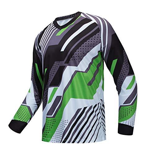 JPOJPO Hombres Ciclismo Jersey MTB camiseta manga larga juventud Off-Road motocicleta Jersey Bicicletas ropa Anti-UV - - 4XL (pecho 66 cm)
