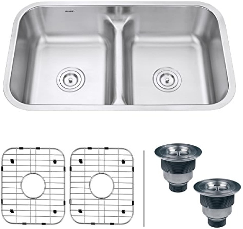 Ruvati RVM4350 Küchenspüle Küchenspüle mit 2 Spülbecken, Edelstahl, 81,3 cm