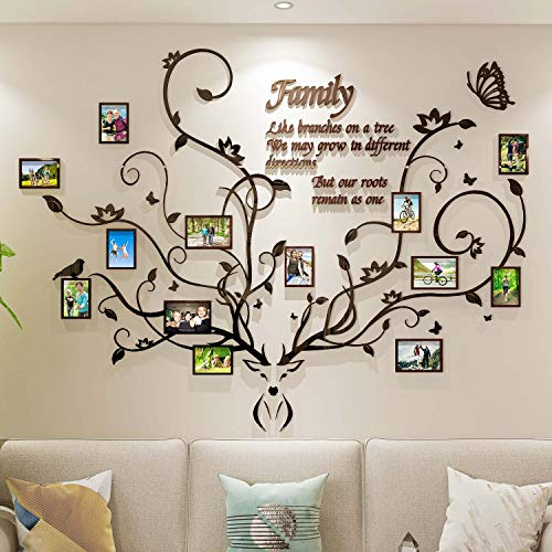 DecorSmart Antlers Family Tree Wall Decor for Living Room, 3D Removable Picture Frame Collage DIY...