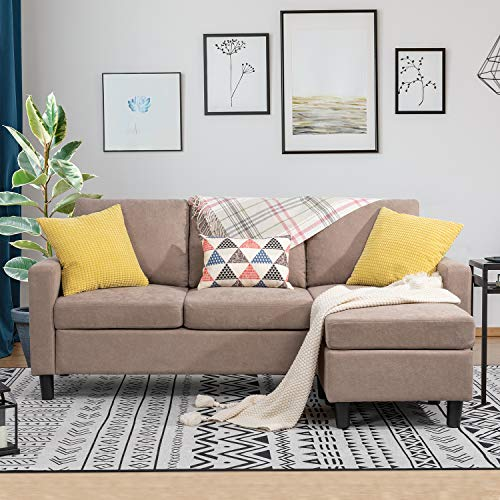 Shintenchi Convertible Sectional Sofa Couch, Modern Linen Fabric L-Shaped Couch 3-Seat Sofa Sectional with Reversible Chaise for Small Living Room, Apartment and Small Space (Light Brown)