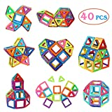 Manve Magnetic Tiles Building Blocks Toys, 40 Pcs Preschool Kids...