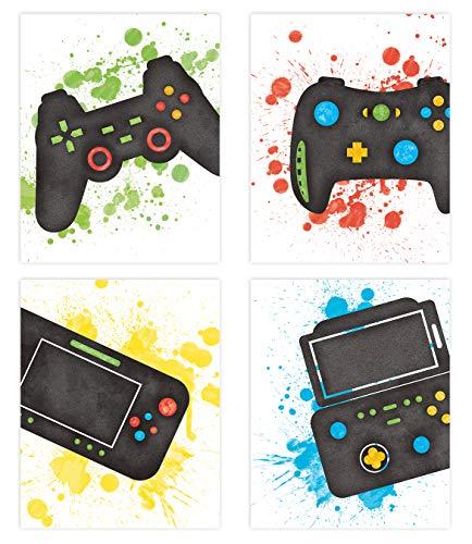 KAIRNE 4er Set Gaming Poster,Bilder für Gamer,Videospiel Wand Bild,Aquarell Game Poster Jugendzimmer Junge,Wandkunst für Jungen Teenager Schlafzimmer Kinderzimmer Geschenk Dekor(20×25CM) Ohne Rahmen