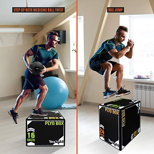 Yes4All Soft Plyo Box/Foam Plyo Box for Exercise, Crossfit, MMA, Plyometric Training – 3-in-1 Plyometric Jump Box with Wooden Core (20/18/16), Black (UYSN)