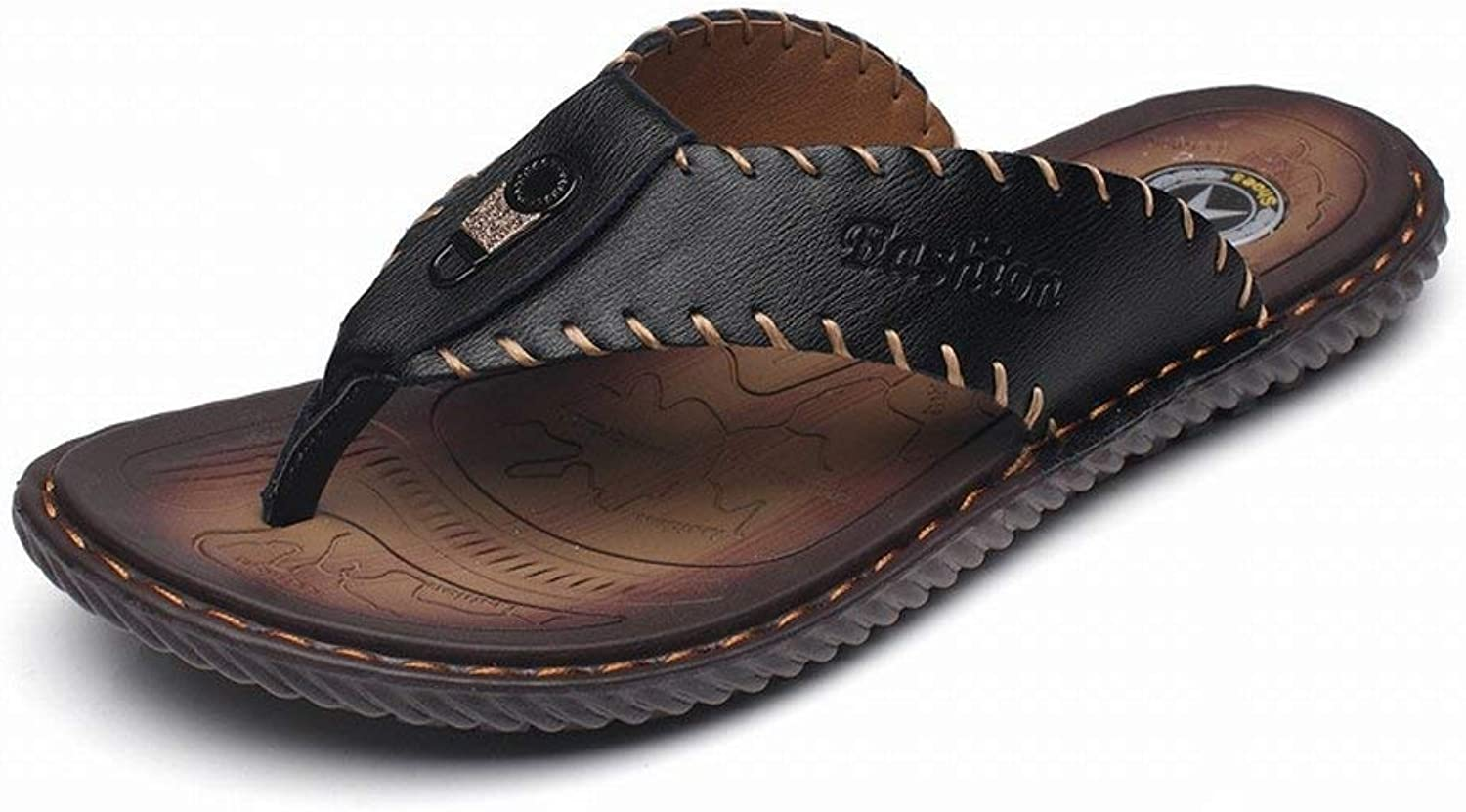 Hhgold Flip Flop Male Fashion Trend Leather Cool Slippers Male Sandals (color   Black, Size   UK 6.5)