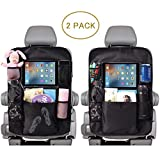 ComboCube Car Backseat Organizer For Kids Kick Mats 2 Pack,Car Seat Back Protectors with Touch-Screen Clear 10' Tablet Holder + 5 Storage Pockets Back seat Organizer for Kids and Toddlers Toy,Bottle D