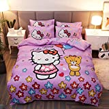 Warm Embrace Kids Bedding Teen Comforter Set Girls Children Bed in a Bag Hello Kitty,Duvet Cover and Pillowcase and Flat Sheet and Duvet (White),Twin Size,4 Piece