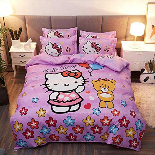 Warm Embrace Kids Bedding Teen Comforter Set Girls Children Bed in a Bag Hello Kitty,Duvet Cover and Pillowcase and Flat Sheet and Duvet (White),Full Queen Size,5 Piece