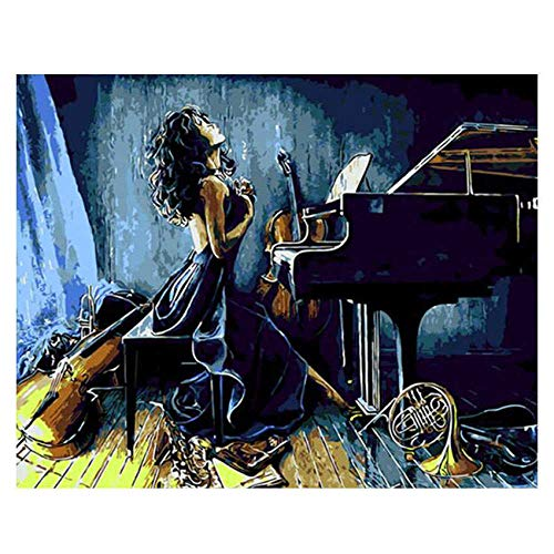Lonfenner Xhzzdhbc Afmetingen Verf Door Getallen Woonkamer, Woonkamer Piano Meisje, Digitale Olie Schilderen Zelf Schilderen Op Doek