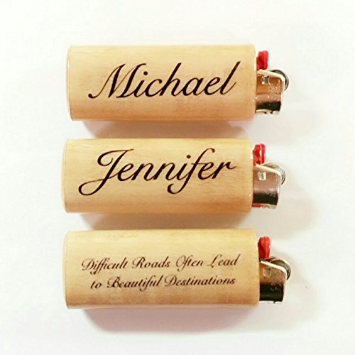 Custom Personalized Name Saying Lighter Case Holder Sleeve Cover Inscription Inscribed Fits Bic Lighters