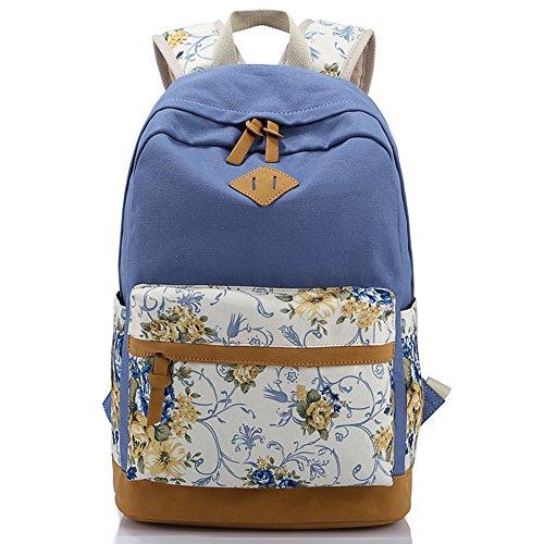 EcoCity-Zaino da viaggio in tela, motivo: Scuola Bookbags blu