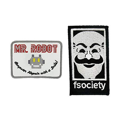 MR Robot Fsociety TV-Serie Show Stickerei Set von 2 Aufnähern, Weiß, Halloween-Kostüm, Hemd, Jacke, Mütze, Geek Geschenk, einfaches Aufbügeln/Aufnähen