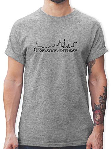 Skyline - Hannover Skyline - L - Grau meliert - Tshirt Hannover Skyline - L190 - Tshirt Herren und Männer T-Shirts