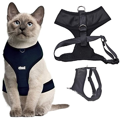 Dexil Luxury Cat Harness Padded and Water Resistant (Black S-M)