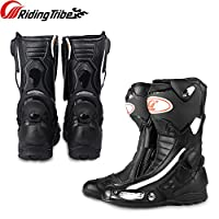 バイクブーツ、ライディングブーツ、レーシングブーツ、バイク用靴、バイク用品ブーツ、バイク用レーシングブーツ、バイクウェア・ブーツ、滑り止めゴム靴底、耐摩耗、衝撃防護、通気 (黒, 42(26CM))