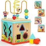 TOP BRIGHT Cubo de Actividades 5 en 1 - Centro de Actividad de Madera para Bebés y Niños de 1, 2...