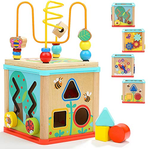 TOP BRIGHT Wooden Activity Cube 5-in-1 – Wooden Activity Table for Kids and Babies Age 1, 2 year...