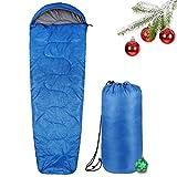 INTEY Sleeping Bag Sac de Couchage avec Doublure Douce, étanche, Sac de Couchage avec Double Fermeture Éclair pour Le Camping ou la Nuit Bleu, Mumienschlafsack