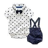 QinMM Kinder Baby Jungen Sommer Gentleman Bowtie Shirt Strampler + Hosenträger Shorts Set Outfit T-shirt + Shorts Hosen Kleidung Set Hosen Outfits 6M-3T (6M, Weiß)