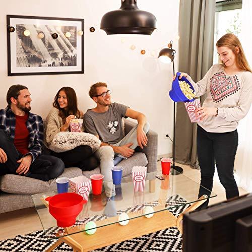 Relaxdays 10021759_47 Popcorn Maker in Silicone da Microonde Popcorn Popper Pieghevole Preparazione Senza Olio, BPA free Rosso