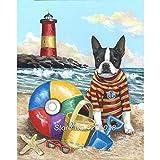 Diy diamante pintura animal perro boston terrier bordado de diamantes pintura de paisaje costero por digital decoración del hogar sin marco-40X50cm