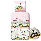 Aminata Kids - Bettwäsche Flamingo zart-alt-rosa Rose 135x200 Baumwolle Mädchen, Damen mit Vögel, Blumen & Ananas, gestreift, Mint-grün, Punkten tropisch, Tropical Blätter, Jugendliche Teenager