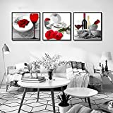 Red Wine Wine Art Canvas Painting Picture Print Red Rose Poster Living Room Home Decor-50x50cmx3 Piezas sin Marco