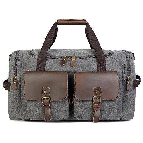 Borsone Viaggio Uomo/ Donna Canvas Weekend Bag Borsoni Tote Vintage Tela (Grigio)