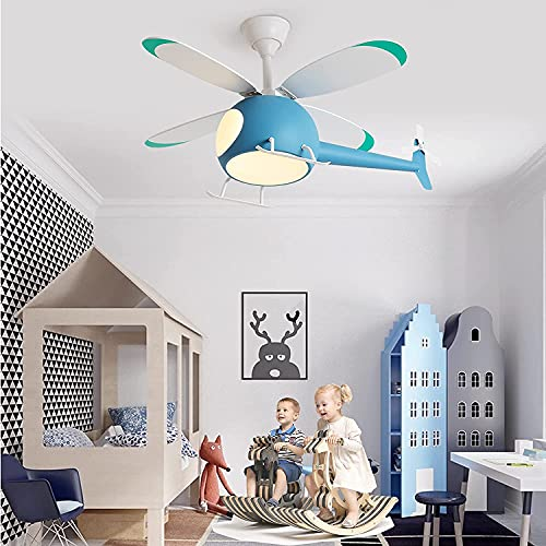 GUANGE Ventilador de Techo luz LED para Dormitorio de niños, helicóptero Decorativo para Interiores, Moderno Temporizador LED de Varias velocidades Regulable con Control Remoto,Azul