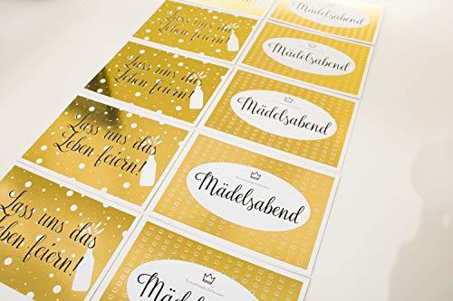 Grußkarten - Postkarten - 10er Set Premium Postkarten - hochwertig mit Gold geprägt - mit Sprüchen & Zitaten