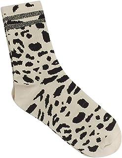 VJGOAL, Moda casual de invierno de invierno cálido y transpirable estampado de leopardo Calcetines de algodón estilo Ins Medias de tubo medio(Un tamaño,Blanco)
