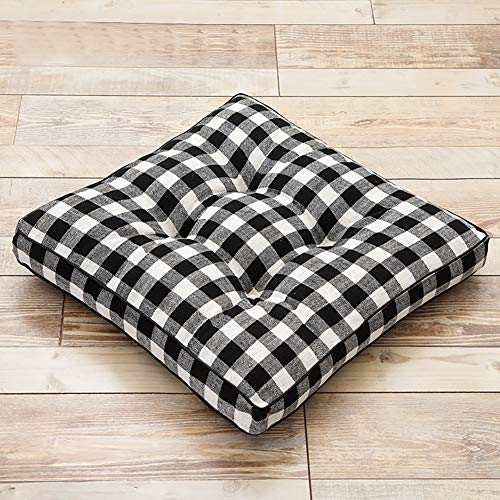 Thicken Cotton Meditation Cushion For Living Room Patio Garden Chair Pad,Black White Buffalo Check Floor Pillow,Square Floor Cushion Seat Cushion
