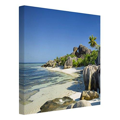 Bilderwelten Leinwandbild - Traumstrand Seychellen - Quadrat 1:1, 30cm x 30cm