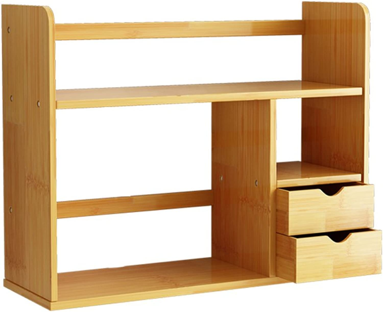 YAXIAO Bookshelf Student Shelves Telescopic Bamboo Table Small Bookshelf Wood color 80-51 X 20 X 20cm Bookshelf (Size   68cm)
