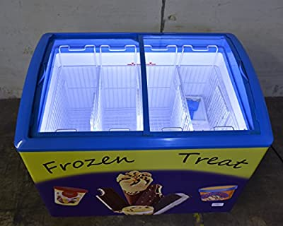 Chest Ice Cream Freezer, 3 Baskets, 38x27x33 inch, Inside LED, ETL Certified, 4 Castors, Lock & Key, Keep Icecream and other Food items