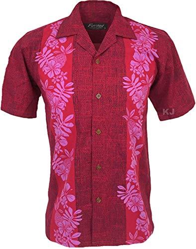 Favant Tropical Luau Beach Pineapple Panel Print Men's Hawaiian Aloha Shirt (Large, Red)