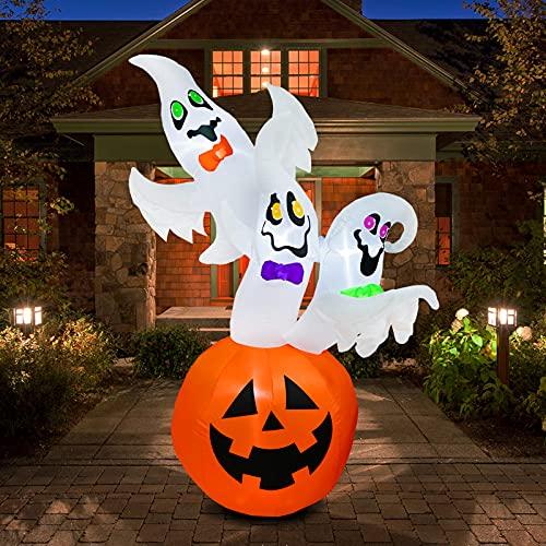 JF Deco Calabazas inflables de Halloween y fantasmas felices incorporadas luz LED soplar hogar patio jardín fiesta decoración interior exterior