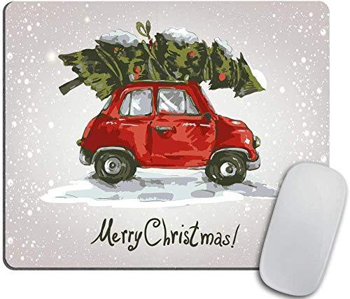 Mausunterlage, rote Retro Art-Auto-Weihnachtsbaum-Weinlese-Familien-Art-Illustrations-verschneite Winter-Kunst