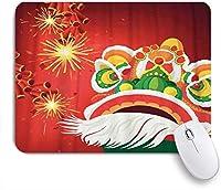 NIESIKKLAマウスパッド 中国のライオンダンスと輝く爆竹 ゲーミング オフィス最適 高級感 おしゃれ 防水 耐久性が良い 滑り止めゴム底 ゲーミングなど適用 用ノートブックコンピュータマウスマット