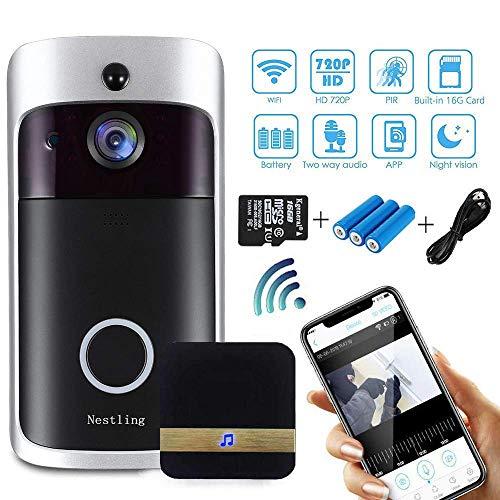 Nestling 720P HD Video Türklingel Mit Kamera,16G Speicherkarte, Echtzeit-Audio, Besuchsüberwachung, Lange Akkulaufzeit und Einfache Installation