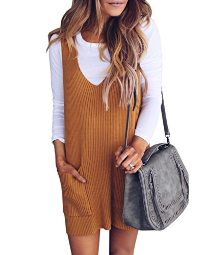 Saodimallsu Womens Racerback Tank Sweater Dresses Fall Ribbed Knit Loose V Neck Dress Pockets Khaki