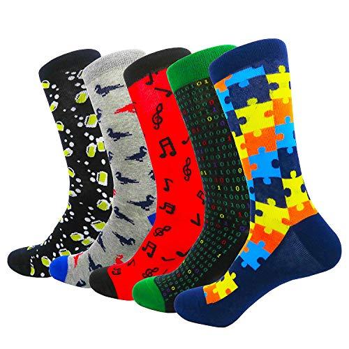 HIWEAR Herren Kleid Bunte lustige Design Komfort gekämmte Baumwolle Crew Socks Pack (Design-mix2)