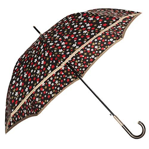 BOLERO Paraguas de lluvia largo clásico cortavientos y automático – Apertura automática – Tejido Pongee 210T con pomo de tubo (flores)
