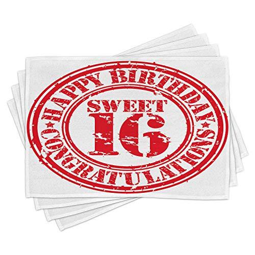 ABAKUHAUS 16 ° Compleanno Tovaglietta Americana Set di 4, Timbro di Gomma di Saluto, Tovagliette in...
