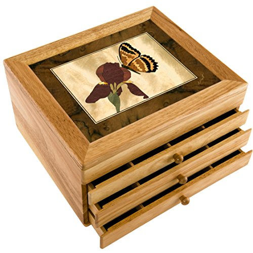 Wood Iris & Butterfly Box