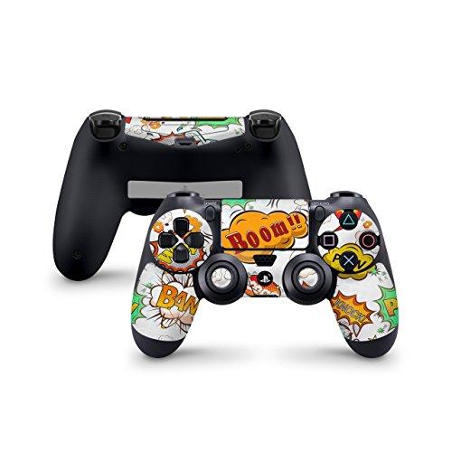 Skins4u Aufkleber Skin Designfolie Controller Schutzfolie kompatibel zu Sony Playstation 4 Controller PS4 Comics Weiss